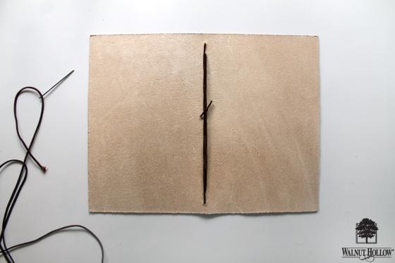 Step 4 for DIY Leather Burned Traveler's Notebook Journal