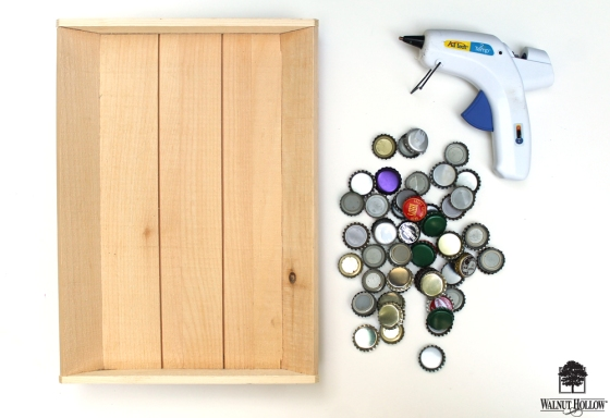 The supplies you'll need to make a DIY Beer Bottle Cap Tray with Walnut Hollow