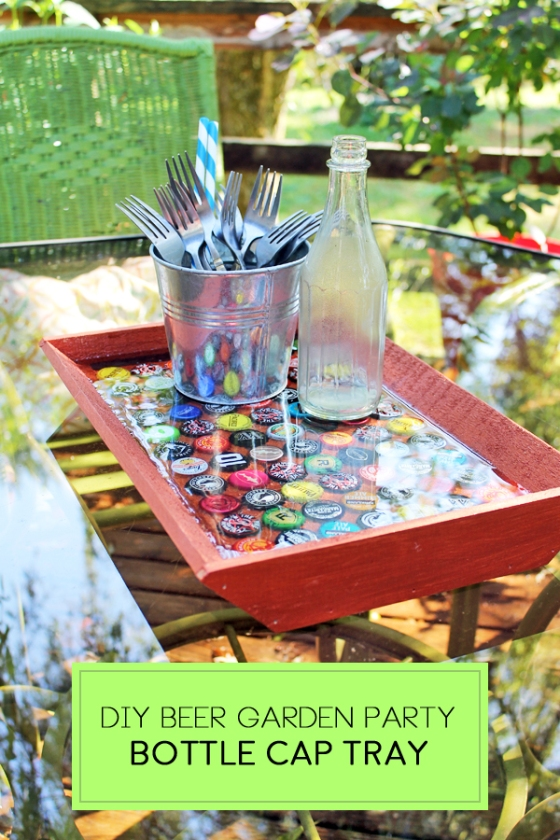 Upcycle your old Beer Bottle Caps with @Walnuthollow 's Rustic Angled Tray and Resin for a fun DIY! #walnuthollow #beergarden #upcycled #patio