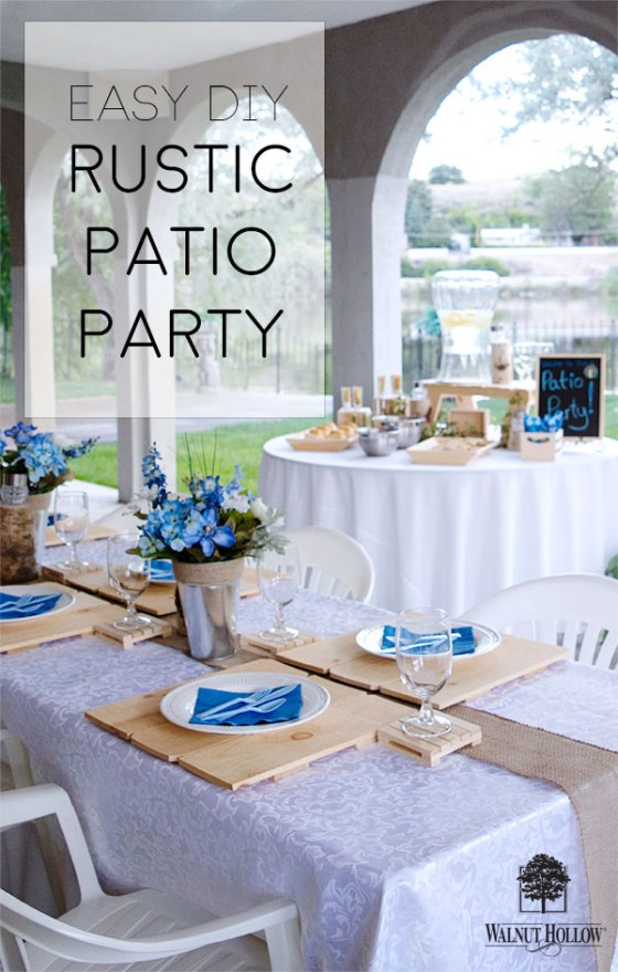 Throw an Easy Rustic Patio Party with beautiful Natural wood Walnut Hollow decor. #walnuthollow #patioparty #party #wood