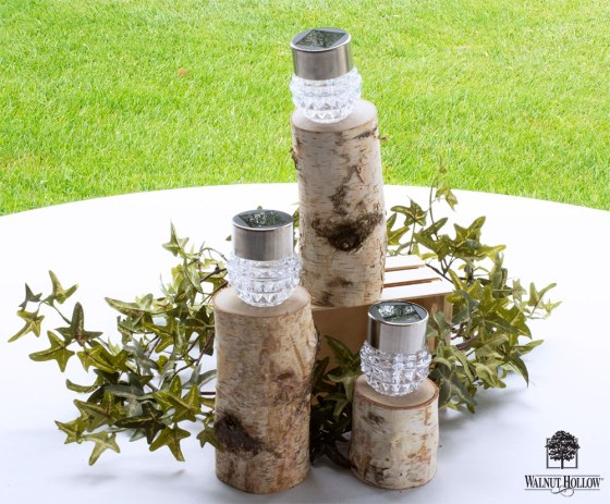 Birch Pillar Outdoor Patio Party Solar Lights