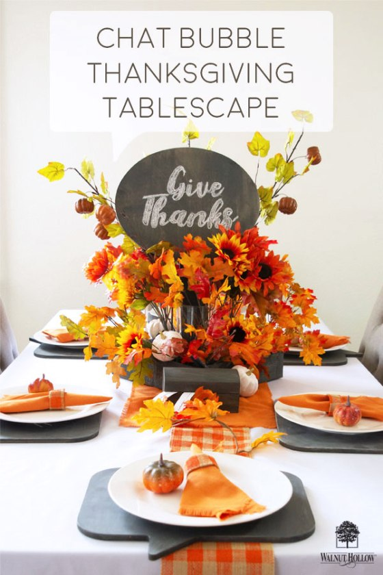 Create a fun Thanksgiving Tablescape with Walnut Hollow Speech Bubble Shapes #thanksgiving #tablescape #walnuthollow