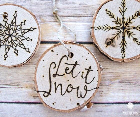 Wood Burned Winter Ornaments