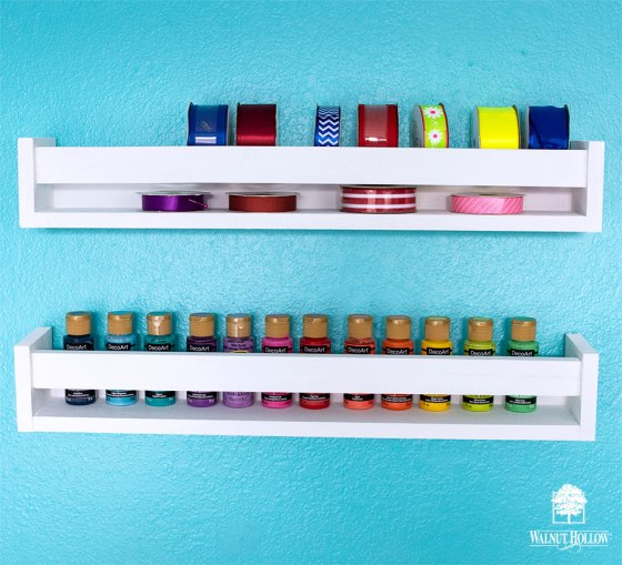 Adding Craft Supplies to the Display Rack Shelves - Paint and Ribbon
