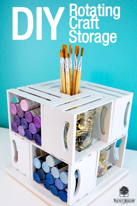 DIY Rotating Craft Storage that holds a lot of supplies while taking up a very small amount of space! #craftorganization #craftstorage #craftroom