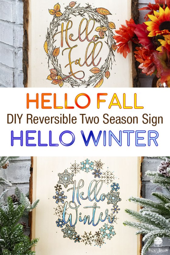 Reversible Fall and Winter Woodburned sign