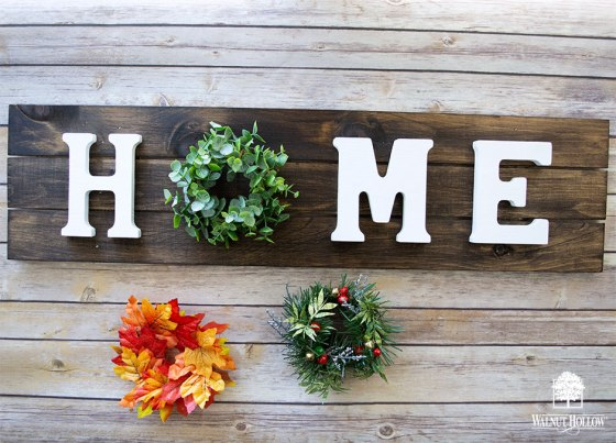Interchangeable Wreath Home Sign