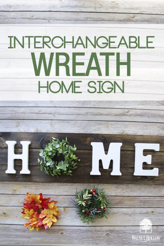 Interchangeable Wreath Home Sign for all seasons and holidays.
