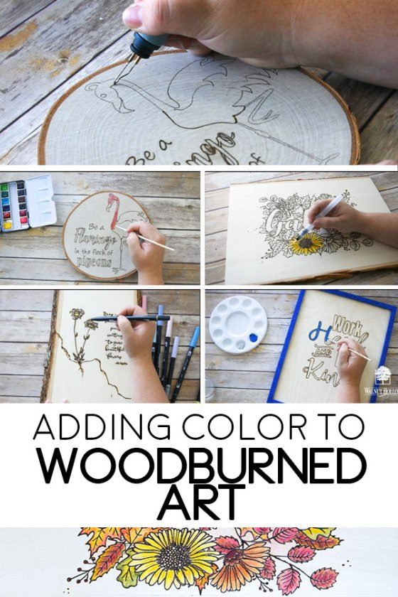 Add color to your beautiful wood-burned designs for a fun pop of fun!