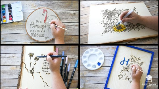 Add color to your wood-burned art