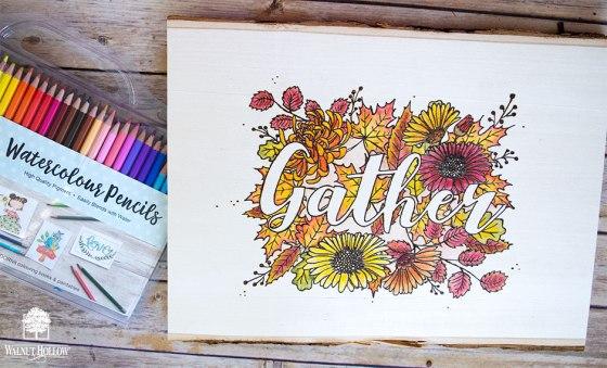 Watercolor Pencils - Gather Sign