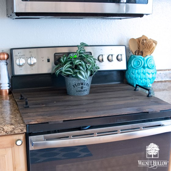 Rustic Pallet Glass Top Stove Cover Noodle Board