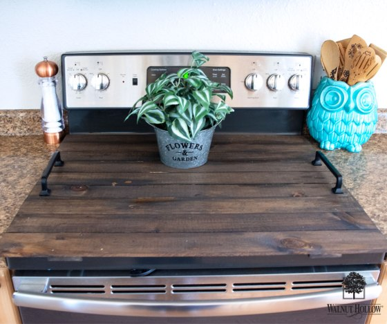Use three Walnut Hollow Rustic Pallets to create a Flat Top Stove Cover