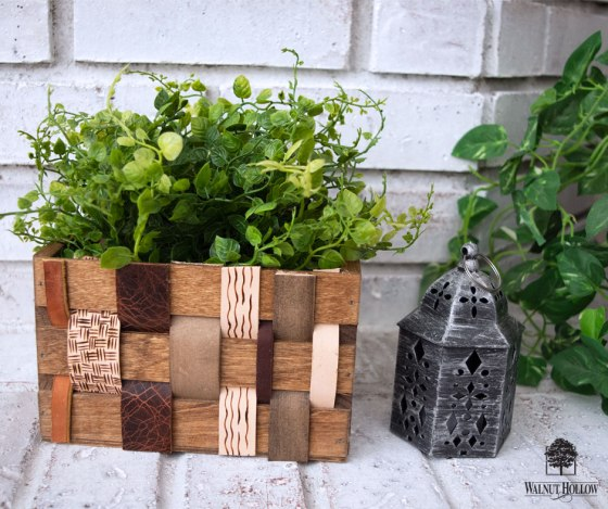Leather Woven Wood Mini Crate