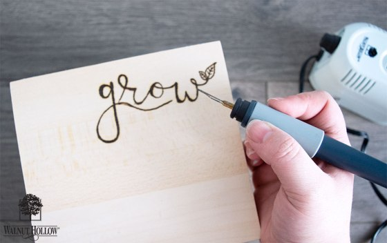 wood burn the grow design onto your card keeper box
