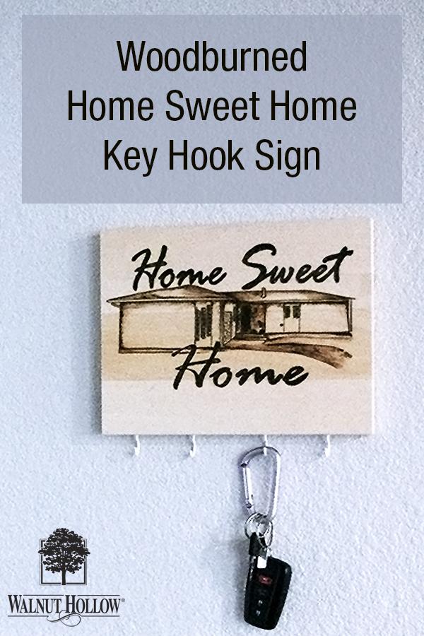 Wood Burned Home Portrait.  Home Sweet Home Keychain Hook Sign
